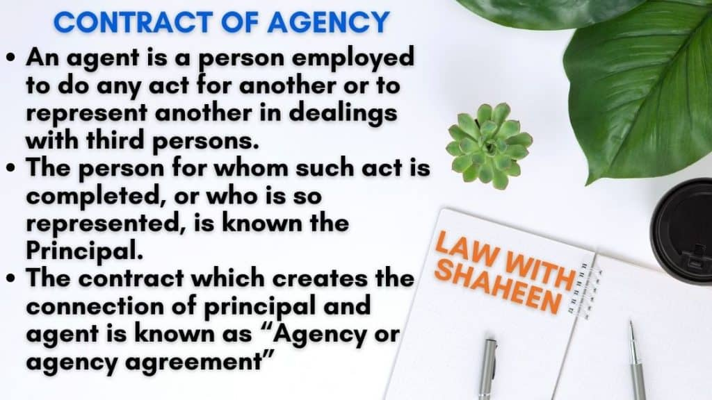 Contract of agency and its essentials