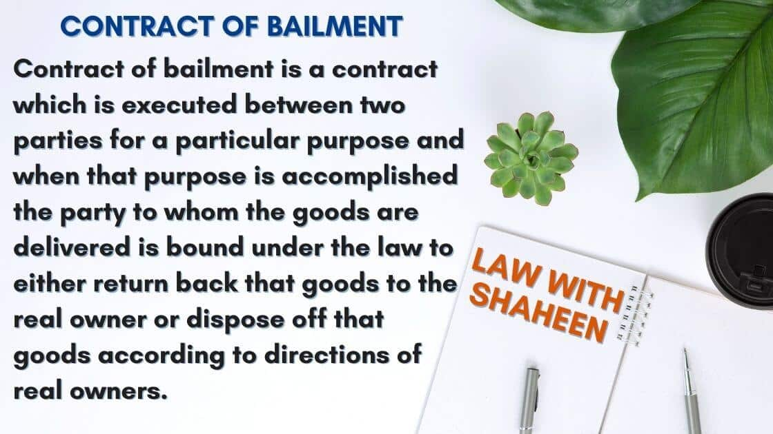 Definition of contract of bailment