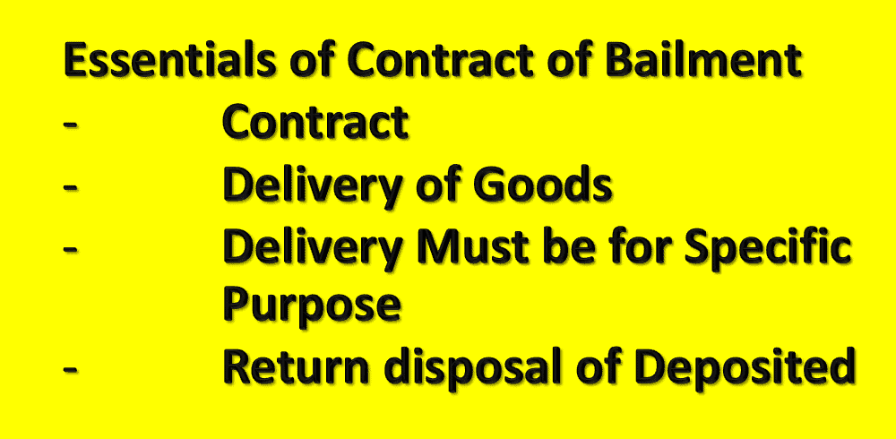 Essentials of Contract of Bailment in Law