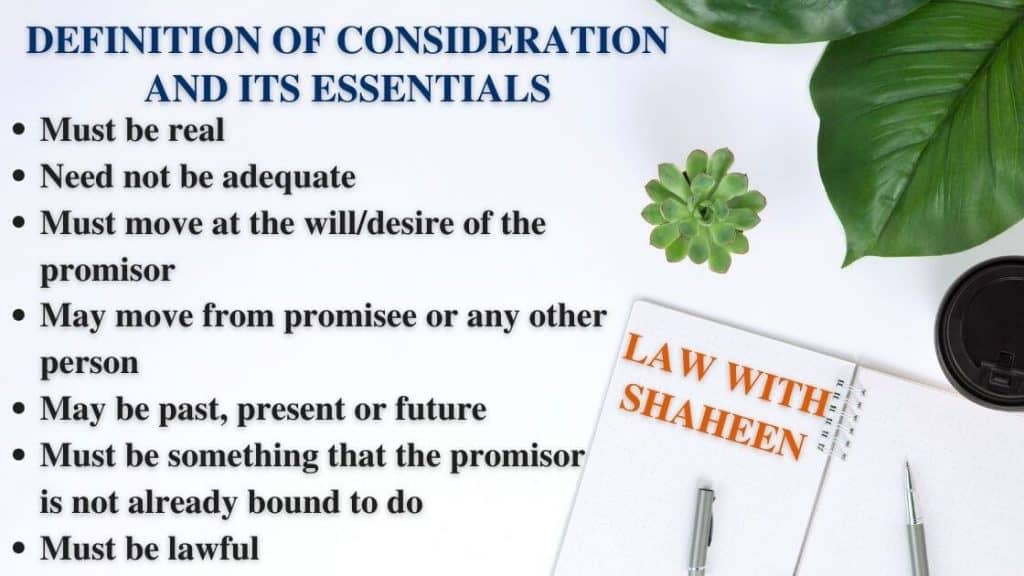 consideration definition, meaning and essentials